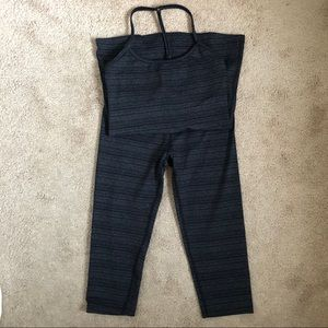Beyond Yoga Grey Black Striae Tank Leggings Set